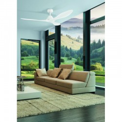 Ceiling Fan From Steel White With Three Plastics Blades And Remote Control Ø132cm 45W ANTIBES - Eglo