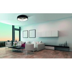 LED Ceiling Light Black With Crystals 66.4W BERLONA - Eglo