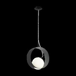 Black - White Pendant Single Light 1x40W E27 CAMARGO Eglo
