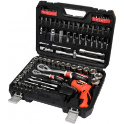 """Professional Tool Set With Battery Screwdriver 3.6V 100pcs 1/4"""" & 1/2"""" YT-12685 - Yato Tools"""