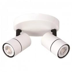 Σποτ Οροφής Ροζέτα Διπλή GU10 Λευκή / Μαύρη - Eurolamp