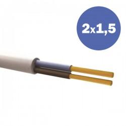 Καλώδιο Ηλεκτρολογικό Εύκαμπτο Λευκό H05VV-F 2Χ1,5MM2 EUROLAMP