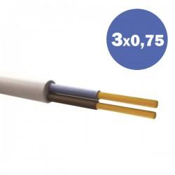 Καλώδιο Ηλεκτρολογικό Εύκαμπτο Λευκό H03VV-F 3Χ0.75MM2 EUROLAMP