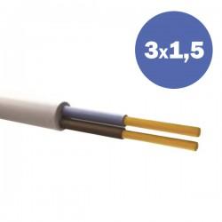 Καλώδιο Ηλεκτρολογικό Εύκαμπτο Λευκό H05VV-F 3Χ1,5MM2 Eurolamp