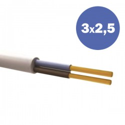 Καλώδιο Ηλεκτρολογικό Εύκαμπτο Λευκό H05VV-F 3 Χ 2,5MM2 Eurolamp