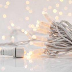 LINE, 100 LED 5MM, EVERY 10CM, 230V, EXTENSION UNTIL 9, WHITE RUBBER WIRE, WARM WHITE LED, IP65 Magic Christmas