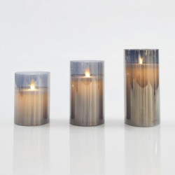 LED Διακοσμητικά Κεριά Μπαταρίας Ανθρακί Με Κίνηση Στη Φλόγα Και Χρονοδιακόπτη Σε Τρία Μεγέθη Magic Christmas