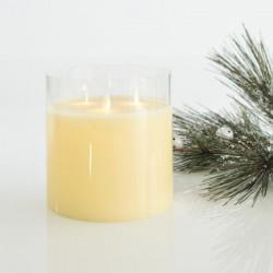 Κερί Μπαταρίας Με Κίνηση Στη Φλόγα, Με 3 Φλόγες Και Γυαλί, Με Χρονοδιακόπτη , 15X15CM - Magic Christmas