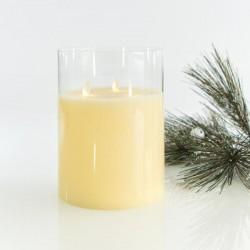 Κερί Μπαταρίας Με Κίνηση Στη Φλόγα, Με 3 Φλόγες Και Γυαλί 15X20CM - Magic Christmas