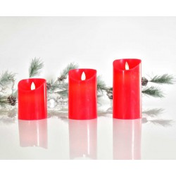 LED Κερί Μπαταρίας Κόκκινο, Με Κίνηση Στη Φλόγα Και Χρονοδιακόπτη Σε Τρία Μεγέθη Magic Christmas