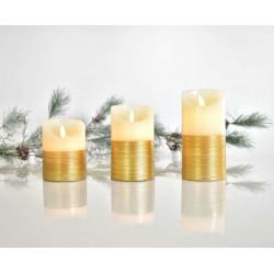 LED Κερί Μπαταρίας Με Κίνηση Στη Φλόγα, Ιβουάρ Με Χρυσό, Με TIMER, 7,5X10CM Σε Τρία Μεγέθη Magic Christmas