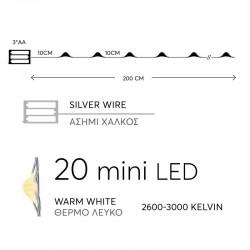 Fairy Lights Σειρά Μπαταρίας, 20 LED Θερμά Λευκά Με Ασημί Χαλκό, Ανά 10CM, IP20 - Magic Christmas