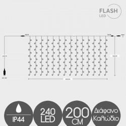 240 LED FLASH Κουρτίνα Με Επέκταση Με Διάφανο Καλώδιο Σε Θερμό Λευκό - 2600K IP44 Magic Christmas