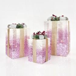 Κουτιά Δώρου Φωτιζόμενα, Με Λευκό-Ροζ Νήμα, ΣΕΤ 3ΤΜΧ 20CM/30CM/38CM - Magic Christmas