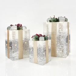 Κουτιά Δώρου Φωτιζόμενα, Με Ασημί - Λευκό Νήμα, ΣΕΤ 3ΤΜΧ, 20CM/30CM/38CM - Magic Christmas
