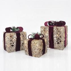 Κουτιά Δώρου Φωτιζόμενα, Με Εκρού Σχοινί Και Μπορντώ Κορδέλα, ΣΕΤ 3ΤΜΧ 15CM/20CM/25CM - Magic Christmas