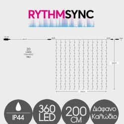360 LED Σε Κουρτίνα Με Επέκταση Με Διάφανο Καλώδιο Σε Θερμό Λευκό Με Μικρόφωνο Και Πρόγραμμα Βάσει Της Μουσικής - 200x200cm 2200K-2300K IP44 Magic Christmas