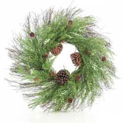WREATH WITH PINE NEEDLE AND PINE CONES, 71CM - Magic Christmas