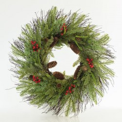 WREATH WITH PINE NEEDLE AND BERRY, 66CM- Magic Christmas
