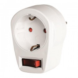 Adaptor From Schuko To 1 Schuko With Switch & Children Protection - Eurolamp