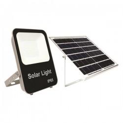 Προβολέας LED SMD Ηλιακός 50W IP65 DC6V 4000K Μαύρος PLUS - Eurolamp