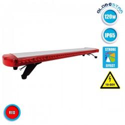 Φάρος Πυροσβεστικής Σήμανσης STROBO Οροφής Αυτοκινήτου - Φορτηγού 118CM Κόκκινος LED 120W 10-30 Volt με Controller - GloboStar