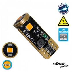 Λαμπτήρας LED T10 Extreme Series Can-Bus 3ης Γενιάς 3w 12v Πορτοκαλί GloboStar