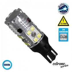 Λαμπτήρας LED T10 T15 W16W Extreme Series Can-Bus 3ης Γενιάς 13w 12v Ψυχρό Λευκό 6000k GloboStar