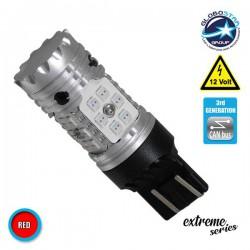 Λαμπτήρας LED Extreme Series Can-Bus 3ης Γενιάς με βάση T20 7443 15W 12v Κόκκινος για Πορείας Στοπ GloboStar