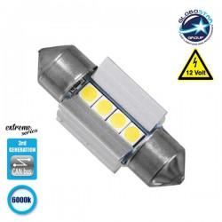 Σωληνωτός LED Extreme Series Can-Bus 3ης Γενιάς 31mm 3.1w 12V Ψυχρό Λευκό 6000k GloboStar