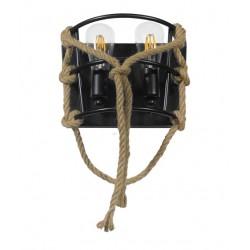 Vintage Απλίκα Δίφωτη Μαύρη Μεταλλική Με Σχοινί - 2x E27