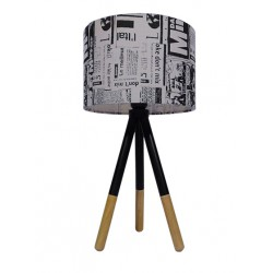 Vintage Πορτατίφ Μονόφωτο Ξύλινο Με Καπέλο Ø30cm 1x E27