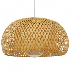 Vintage Pendant Ceiling Light Single Light Brown Wooden Bamboo D38 1x E27
