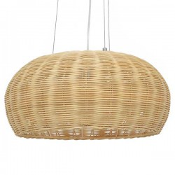 Vintage Pendant Ceiling Light Single Light Brown Wooden Bamboo D45 1x E27