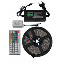 Σετ Ταινία LED RGB 5m 36W 12V 600lm 120° Αδιάβροχη IP65 με Ασύρματο Χειριστήριο και Τροφοδοτικό σε Blister