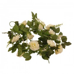 Τεχνητό Κρεμαστό Φυτό Διακοσμητική Γιρλάντα Μήκους 2.2 μέτρων με 10 X Μεγάλα Τριαντάφυλλα Λευκά GloboStar