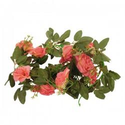 Τεχνητό Κρεμαστό Φυτό Διακοσμητική Γιρλάντα Μήκους 2.2 μέτρων με 10 X Μεγάλα Τριαντάφυλλα Κοραλί GloboStar