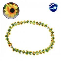 Τεχνητό Κρεμαστό Φυτό Διακοσμητική Γιρλάντα Μήκους 2 μέτρων με 80 X Μικρά Ηλιοτρόπια Κίτρινα GloboStar