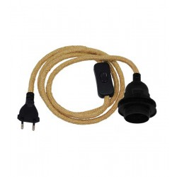 Pendant Light Whip with Black Lamp E27 with Washer for Hat - Black Switch - Black Socket and Beige Cable 1.4m