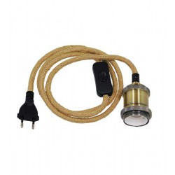Whip Pendant Light with Gold Socket E27 - Black Switch - Black Socket and Beige Cable 1.4m