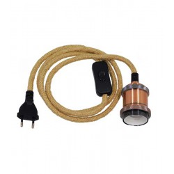 Whip Pendant Light with Copper Lamp E27 - Black Switch - Black Socket and Beige Cable 1.4m