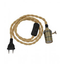 Whip Pendant Light with Brass Lighting E27 - Black Switch - Black Socket and Beige Knitted Cable 1.4m
