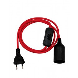 Whip Pendant Light with Black Switch and Black Socket E27 - Black Socket and Red Cable 1.4m