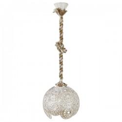 Μονόφωτο Φωτιστικό Με Σχοινί Δίχρωμο Με Μεταλλικό Καπέλο Λευκό Με Χρυσή Πατίνα 1x E27 MAROCCO - Heronia Lighting