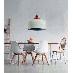 Pendant Light from Black or White Metal And Wood 1xE27 - InLight