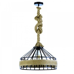 Pendant Light from Brown Rope And Black or White Metal 1xE27 - InLight