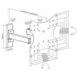 Βάση TV23-42'' Σπαστή Διπλή Με Περιστροφή 180° KLA26-222 LLC - Top Electronics