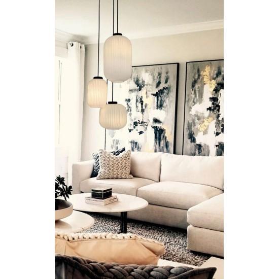 Pendant Light With Opal White Glass 3x E27 70W Astor - VIOKEF