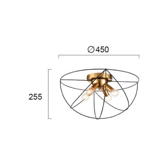 Ceiling Light Metallic In Gold - Black Color 4x E14 ATOM - VIOKEF