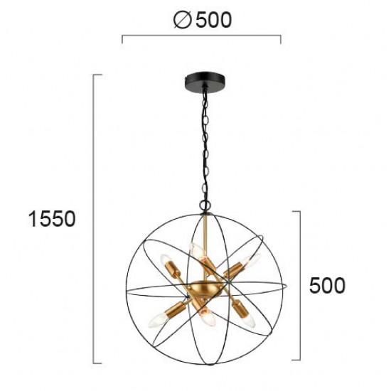 Pendant Light Metallic In Gold - Black Color 6x E14 ATOM - VIOKEF